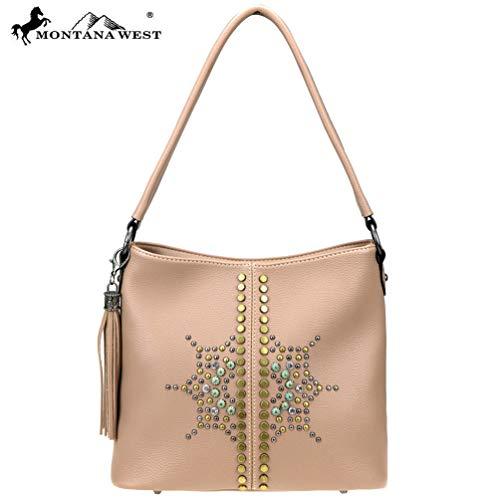 Tassel Accented Hobo Handbag - MW810-918 Montana West Aztec Collection Hobo-Pink
