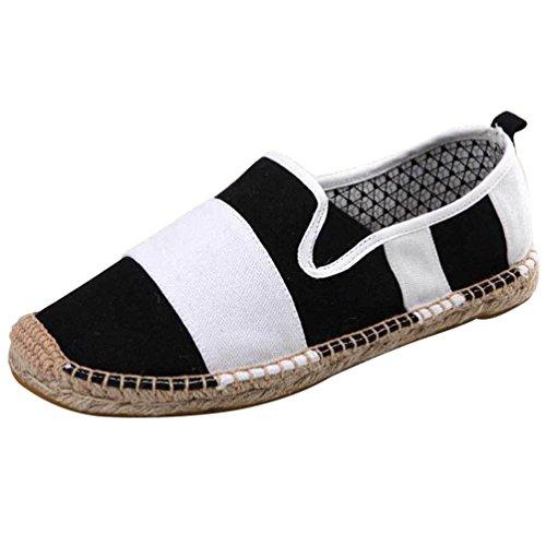 Uomo Unisex Lvguang Scarpe Flats Casuale Loafers Basse Moda Tinta on Espadrillas Nero Unita Donna Slip Scarpe 5THwdwpq