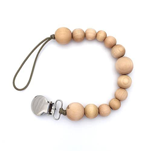 Natural Wooden Beaded Teething Sensory Pacifier Clip Holder for Baby Boy or Girl, Twinkle