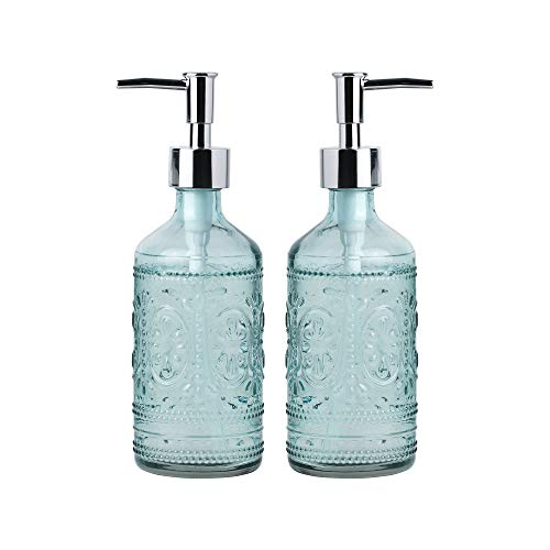 Whole Housewares 12 Ounce Embossed Glass Soap and Lotion Dispenser Bottles with Plastic Pump/Set of 2 (Blue)