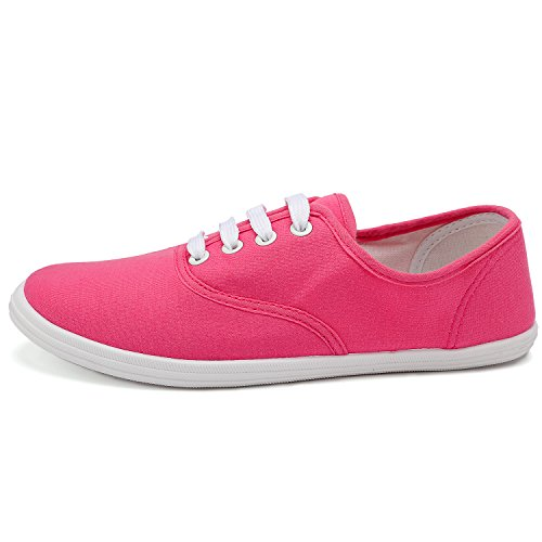 ODEMA Women's Canvas Shoes Lace up Tennis Basic Athletic Sneakers 8 Colors Available Orange IkgwkIgIBP