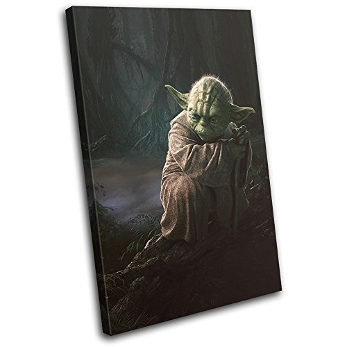 Bold Bloc Design - Star Wars Yoda Movie Greats 75x50cm Single Canvas Art Print Box Framed Picture Wall Hanging - Hand Made in The UK - Framed and Ready to Hang