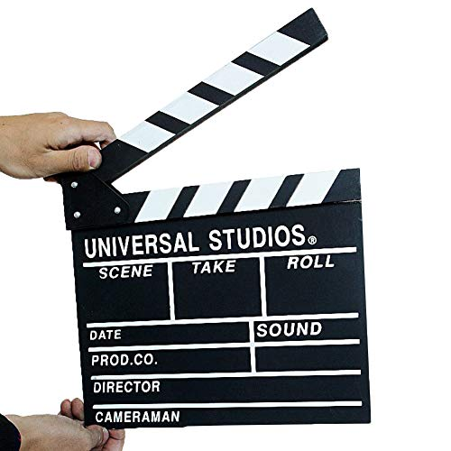 Wooden 11.8x10.6inch/30x27cm Director's Film Clapboard Cut Action Scene Clapper Board Slate with Black Sticks