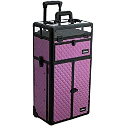 Sunrise Nail Case Polish Organizer on Wheels 2 in 1 I31066, 54 Bottle Capacity, French Doors, 2 Large Drawers, Locking with Mirror, Purple Diamond