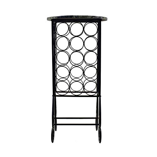Circlelink Metal Free Standing 15 Bottle Wine Rack with Wood Top, Black (Commercial Metal Racks Wine)