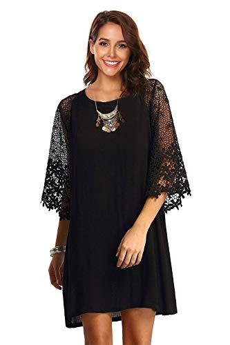 Twinklady Women's Crew Neck Summer Chiffon Tunic Dress Lace Shift Loose Mini Dress (Black, XXL) (Black Lace Chiffon Dress)