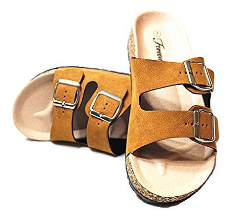 Forever Link SF BIRKEN Womens Glitter Thong Slip On Casual Slide Flip Flop Sandals (8.5 M US, Tan-14)