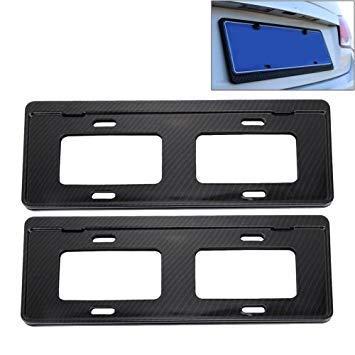 Uniqus 2 PCS Car License Plate Carbon Fiber Bracket Frame Holder Stand Mount(Black)