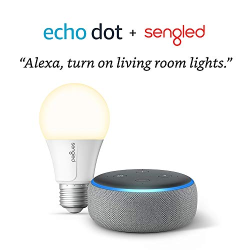Echo Dot (3rd Gen) Heather Gray Bundle with Sengled Wi-Fi Smart Bulb