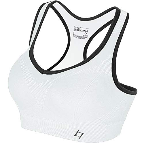 FITTIN Racerback Sports Bra White - Padded Seamless Med Impact Support for Yoga Gym Workout Fitness XL (Best Jogging Bra For Large Breasts)
