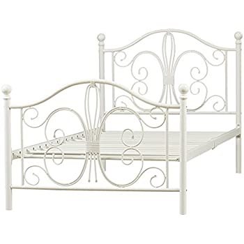 this item metal platform twin bed frame platform metal bed frame bed frame metal platform with headboard footboard and slats white metal frame finish - White Metal Bed Frame
