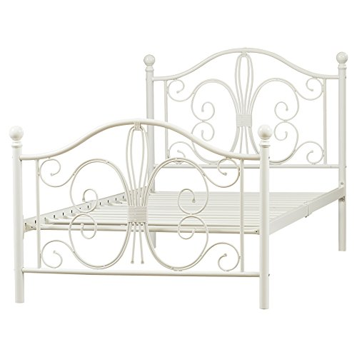 Cottage Bed Twin (Metal Platform Twin Bed Frame - Platform Metal Bed Frame - Bed Frame Metal Platform with Headboard Footboard and Slats - White Metal Frame Finish)