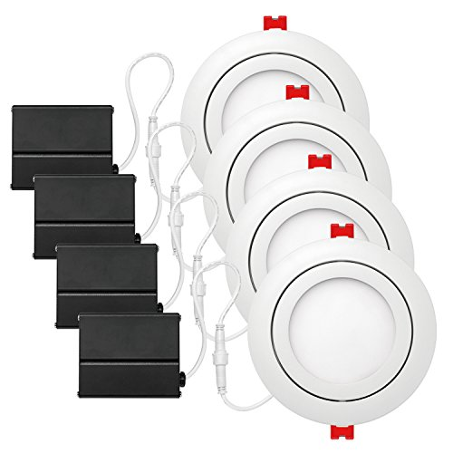 "Globe Electric 4"" LED Integrated Ultra Slim Swivel Recessed Lighting Kit 4-Pack, 9 Watts, Energy Star, IC Rated, Dimmable, Damp Rated, White Finish, 91127 from Globe Electric"
