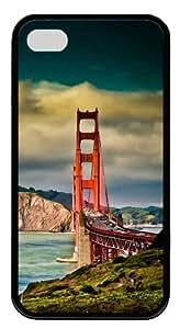 water proof iphone 4 case Bridges TPU Black for Apple iPhone 4/4S