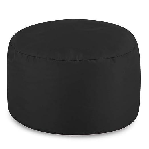 Reposapiés Redondo para puf de Bean Bag Bazaar para interiores/exteriores – color negro