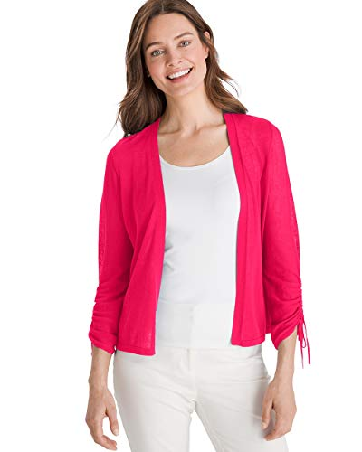 (Chico's Women's Ruched-Sleeve Cardigan Size 12/14 L (2) Red)
