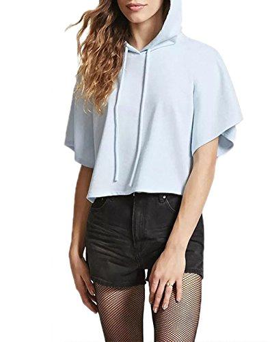 Clair Femmes Couleur Sweat Haut Shirt Courtes t Hoodies Capuche Courtes Lache Bleu Sweats Casual Chemisiers Pullover Unie Cordon T Shirts Avec Tops Manches BdqWdtpn