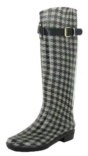 LAUREN RALPH LAUREN Womens Rossalyn II Rain Boot (Blk/Creamhoundstooth 6.0 - Polo Boots Ralph For Women Lauren