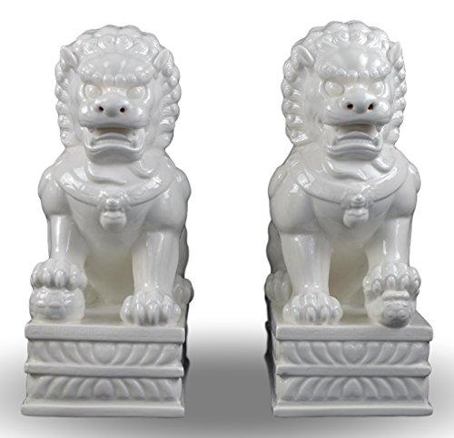 Porcelain Pair Foo Dogs (Fu Dogs) Statues, Lion, Fengshui Door God, White Dehua 13
