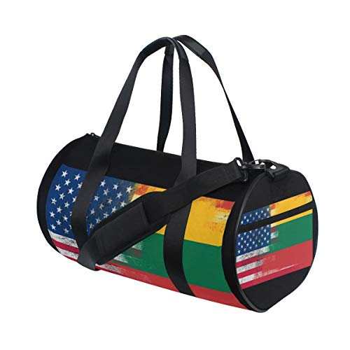 Sports Gym Bag with Lithuanian American Flag Print, Travel Weekender Duffle Bag for Men Women