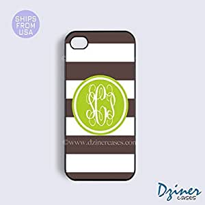 Personalized Your Initials Case Cover For SamSung Galaxy Note 4 model - Brown White Stripes Green Circle