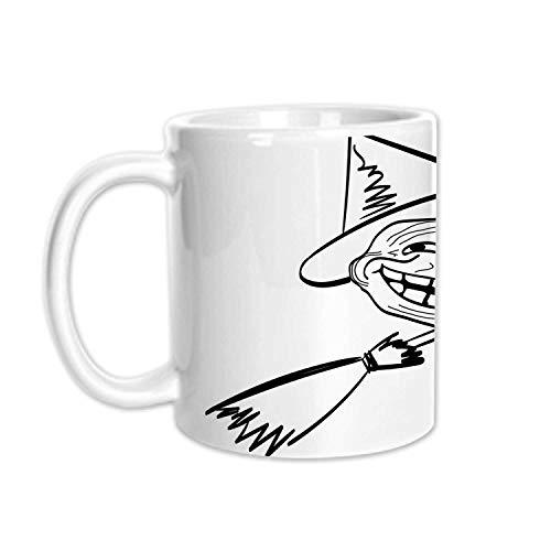 Humor Decor Stylish White Printed Mug,Halloween Spirit Themed Witch Guy Meme Lol Joy Spooky Avatar Artful Image for Living Room Bedroom,3.1