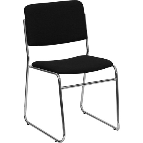Armless Stacking Guest Chair - Flash Furniture HERCULES Series 1000 lb. Capacity Black Fabric High Density Stacking Chair with Chrome Sled Base