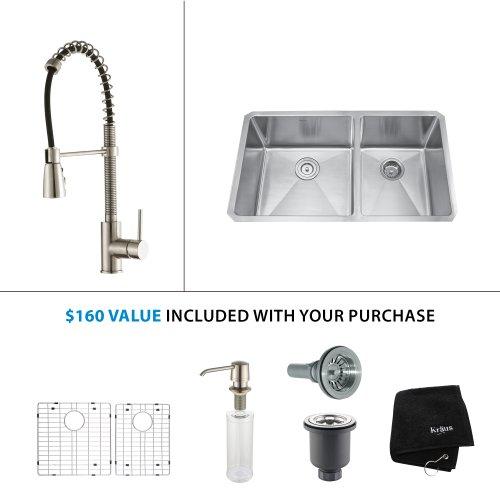 Level Double Bowl Kitchen Sink - Kraus KHF203-36-KPF1612-KSD30SS 36