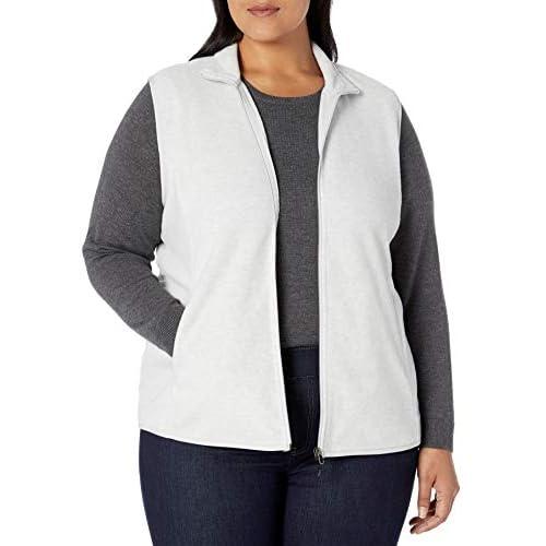 Essentials Womens Plus Size Full-Zip Polar Fleece Vest