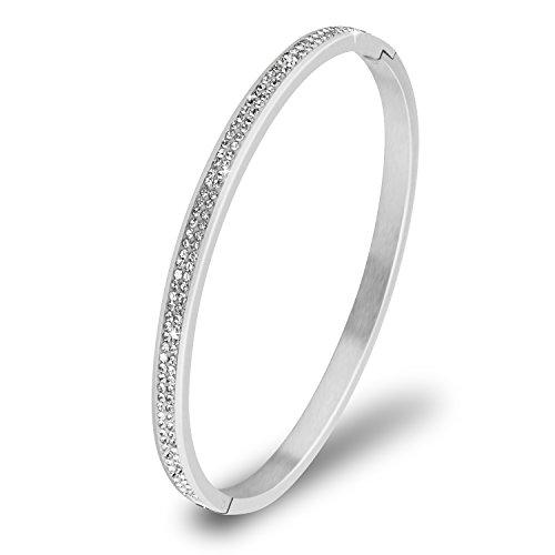 UHIBROS, Fashion Jewelry Women's Bracelet Wristband Bangle Stainless Steel Gem Metal (Stainless Steel Hinged Bangle)