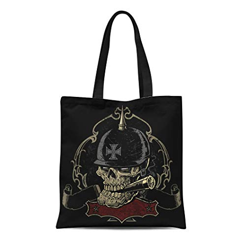 (Semtomn Cotton Canvas Tote Bag Sinister Looking Old Biker Skull Smoking Cigar Reusable Shoulder Grocery Shopping Bags Handbag Printed)