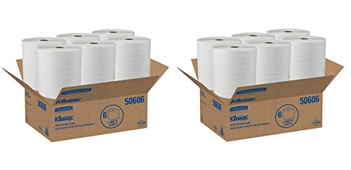 - Kleenex Hard Roll Paper Towels (50606) with Premium Absorbency Pockets, White, 12 Rolls/Case, 3,600 feet