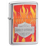 Brushed Chrome, HD Flames Emblem (ZI20868) Category: Harley-Davidson Zippo Lighters