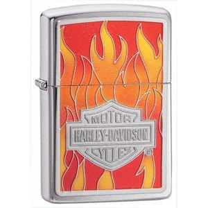 Brushed Chrome, HD Flames Emblem (ZI20868) Category: Harley-Davidson Zippo (Flame Harley Davidson Boots)