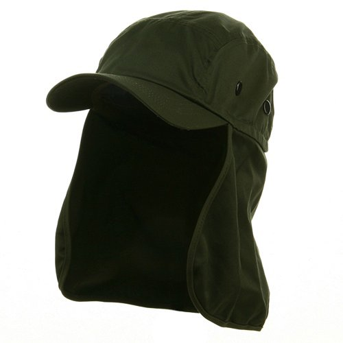 Flap Hats (03)-Olive OSFM (E4hats Cotton Flap Hat)