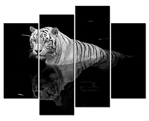 (SmartWallArt - Animal Paintings Wall Art White Tiger Swimming in the Black Mirror Pool 4 Panel Picture Print on Canvas for Modern Home Decoration)