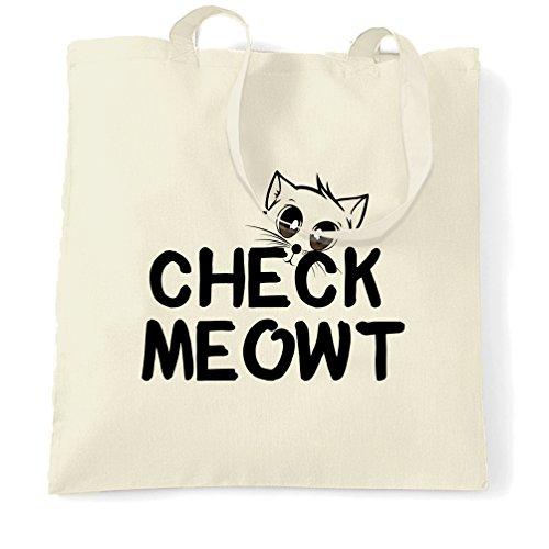 Check Natural Tote Slogan One Size Meowt Novelty Cat Bag Pet White Ht6v4xqf