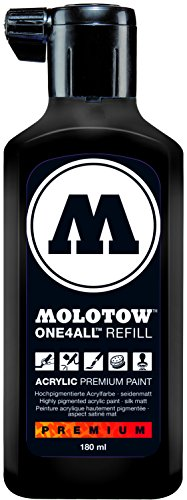 Molotow ONE4ALL Acrylic Paint Refill, For Molotow ONE4ALL Paint Marker, Signal Black, 180ml Bottle, 1 Each (692.180)