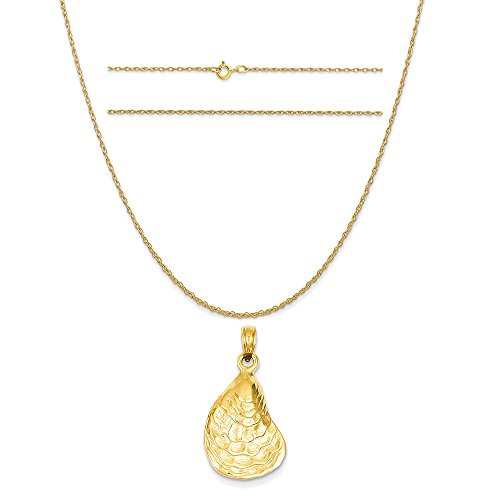 14k Yellow Gold Oyster Sea Life Pendant on a 14K Yellow Gold Carded Rope Chain Necklace, 18