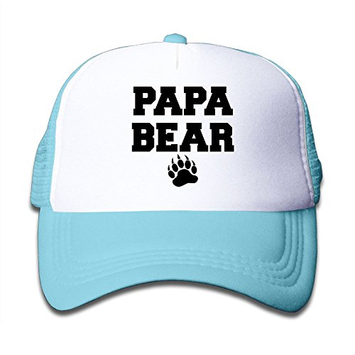 Ooiilpe Children's Grid Cap Papa Bear Kid's Cute Cool Fitted Mesh Cap with Adjustable Snapback Strap Hat -
