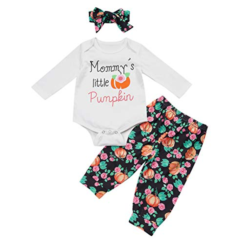 ajhgf Infant Girls Boys Halloween Letter Print Romper Pimpkin Pant Hat Outfit White