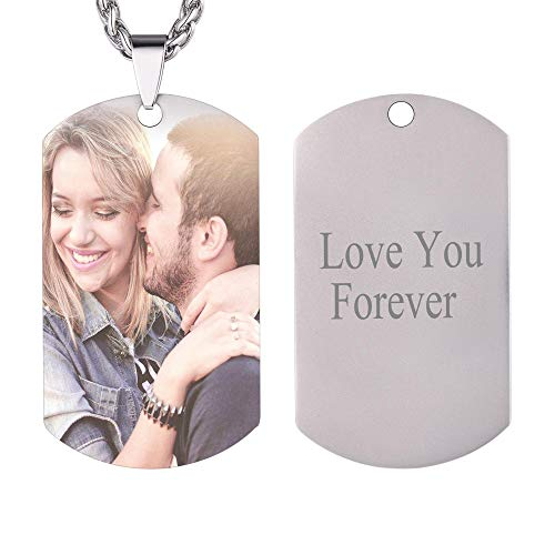 U7 Personalized Dog Tags Necklace with Chain Stainless Steel Text/Image Print Photo Custom Engraving Pendant, Christmas or New Year Gift for Men Women (Stainless Photo Custom) -