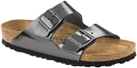 ab4af661e6ec0 Birkenstock Unisex Arizona Metallic Anthracite Leather Sandals - 8-8.5 2A(N)  US
