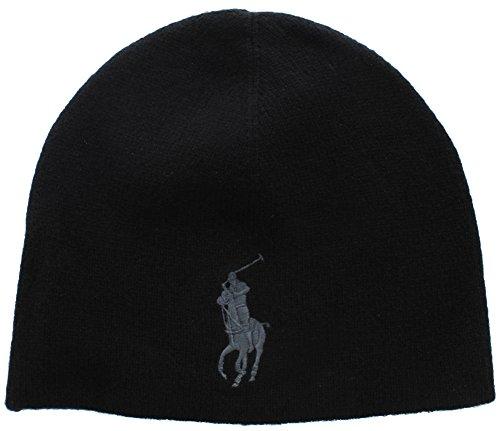 Ralph Lauren Polo Men's Unisex Big Pony Merino Wool Beanie Black/Gray