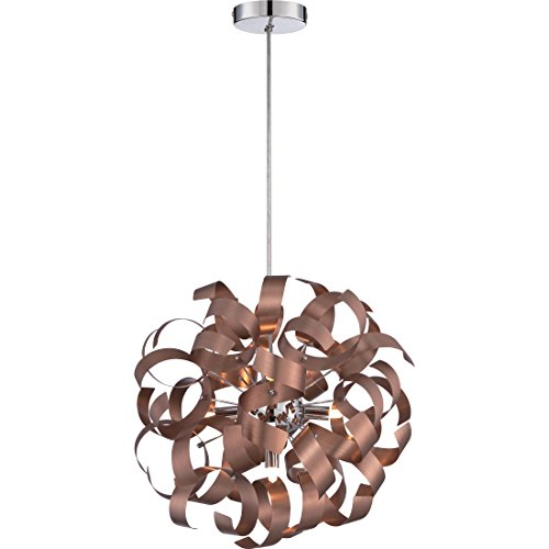 Ribbon Collection Pendant Light - Quoizel RBN2817SG Ribbons Curved Metal Pendant Ceiling Lighting, 5-Light, Xenon 200 Watts, Satin Copper (17
