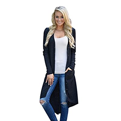 Woaills Womens Knitted Cardigan Outwear Jacket,Ladies Loose Sweater Long Sleeve Coat