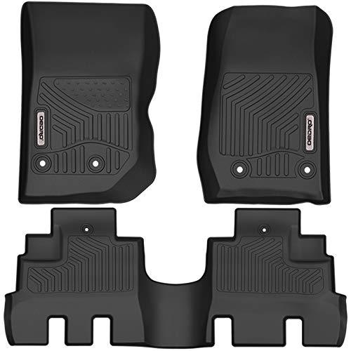 oEdRo Floor Mats Compatible for 2014-2018 Jeep Wrangler JK Unlimited 4 Door (Not for 2 Door and JL Models), Black TPE All Weather Guard, 1st & 2nd Row Floor Liners