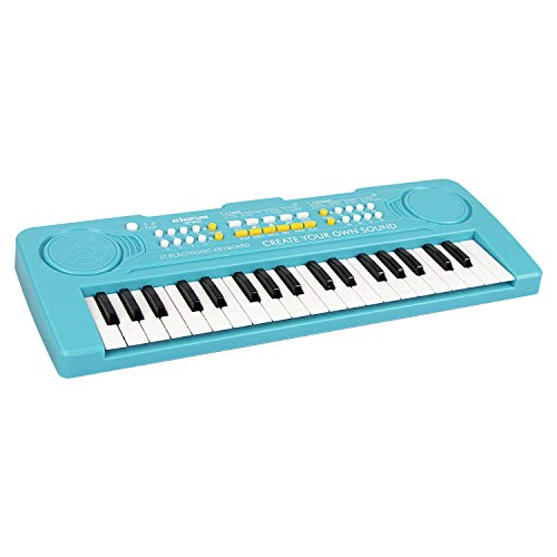 AIMEDYOU 37 Keys Kids Piano Keyboard Portable Electronic Musical Instrument Multi-Function Music Keyboard Early Learning Educational Toy Birthday Xmas Day Gifts for Kids (Blue) from AIMEDYOU