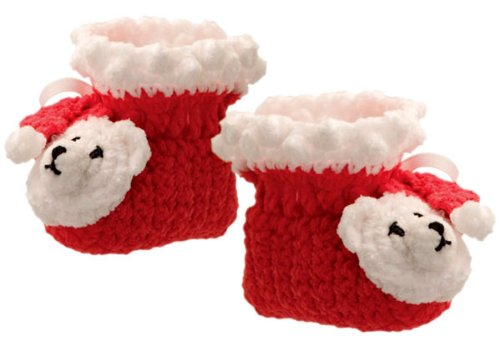 (San Diego Hat Company Chenille Santa Booties Red, 0-6 Months )