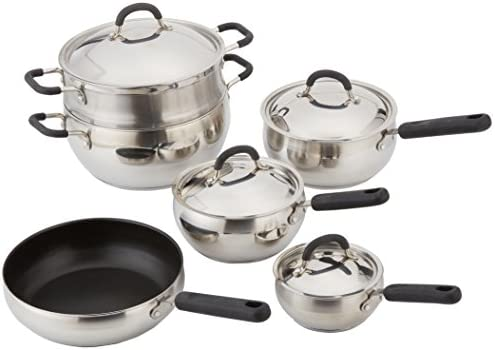 10 Piece 18 10 Belly Shaped Cookware Set w Encapsulated Base Santoprene Handles